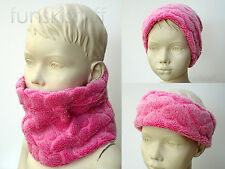Infant girls baby scarf snood neck warmer cowl PINK HEART fleece toddler nursery