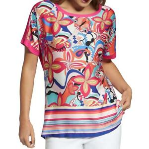 Basler Womens Pink Printed Crew Neck Shirt Pullover Top Blouse 8 BHFO 0910