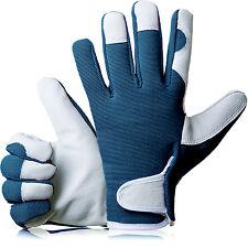 GardenersDream Ladies / Mens Slim Fit Leather Gardening Work Gloves - Navy