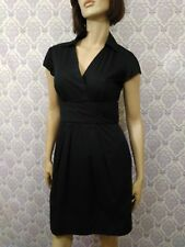 White House Black Market Dress Womens Sz 4 Black Cap Sleeve Shirt Dress Sheath