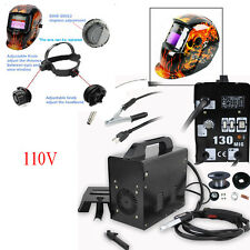 MIG 130 Gas Less Flux Core Wire Automatic Feed Welder Welding Machine w/ Helmet