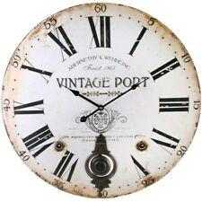 LARGE VINTAGE PORT WALL CLOCK WITH PENDULUM