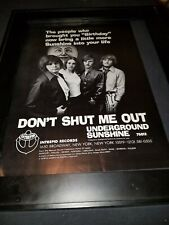 Underground Sunshine Don't Shut Me Out Rare Original Promo Poster Ad Framed!