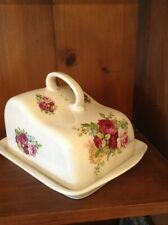 Antique Large covered cheese dish with roses
