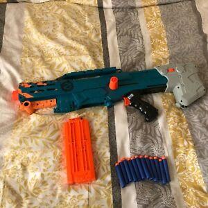 Nerf Zombie Strike Longshot CS-12 Blaster +12 Mag Clip Toy Gun