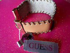 Guess Tan Leather Band Bracelet