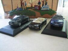 Audi cabriolet trio, 1/43 scale model diecast cars.