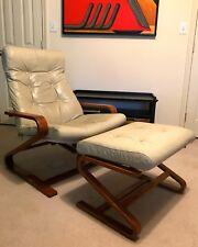 Vintage Mid-Century Danish Modern Leather & Wood Recliner Chair w/Ottoman