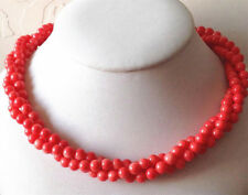 Exquisite Genuine 6mm 3 Shares pink coral round beads necklace 18'' JN1689