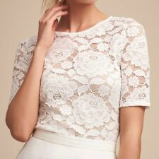 BHLDN White Floral Lace Jive Top Size XL Cropped Stretch Half Sleeves New