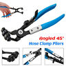 45°Angled Pipe Hose Clamp Pliers Oil Coolant Pipe Swivel Jaw Lock Removal Tool