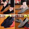 Mens Fashion Faux Suede Casual Loafers  Driving Moccasins Slip on Boat Shoes