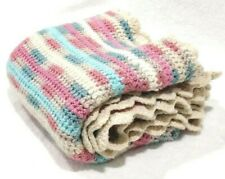 Handmade Crochet Granny Square Pink Acrylic Blue Knitted Baby Blanket 34x34