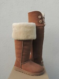 UGG CHESTNUT OVER THE KNEE BAILEY BUTTON SHEEPSKIN BOOTS, US 8/ EUR 39 ~NEW