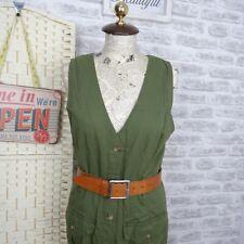 Vintage cotton denim dress chic green FADED GLORY army safari land girl S D485