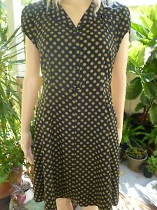 Princess Highway black/green spot lined dress size 12/M fit/flare