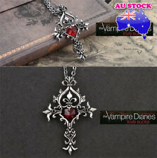 Vampire Diaries Red Sacred Heart Crystal Memorial Cross Pendant Necklace