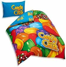Candy Crush Single Bed Panel Polycotton Duvet Set