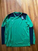 NEW Under Armour Threadborne Long Sleeve Goalkeeper Jersey Green / Black Size L