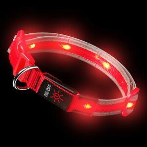Red LED Dog Collar Light Up Luminous USB Rechargeable Flashing Night Safety UK