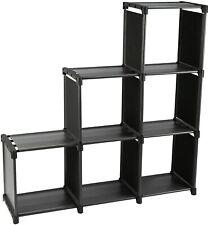 3 Tiers 6 Cubes Storage Cabinet Closet Bookcase Shelf (Black)