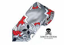 Lord R Colton Masterworks Tie - Jacaranda Silver & Red Silk Necktie - $195 New
