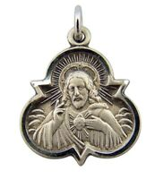 Sterling Silver Trinity Scapular Medal with Our Lady of Mt Carmel Back 7/8 Inch