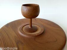 MID CENTURY DANISH MODERN   TEAK PLATTER TRAY WOOD GOBLET CUP