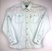 G-Star Raw Denim Mens Western Style Long Sleeve Button Shirt Light Blue Size XXL