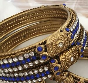 Karaa / Bangles Gold Plated Blue White Crystal Stones.Size 2.6 Costume Jewellery