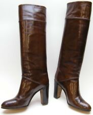 WOMENS TANINO CRISCI BROWN LEATHER TALL KNEE HIGH HEEL FASHION BOOTS SZ 7 B 7B
