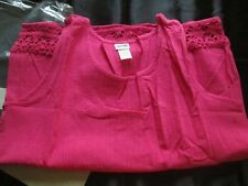 AVON STYLE*GAUZE TANK W/KNIT TRIM*HOT PINK*LARGE*NEW IN PLASTIC BAG*100%COTTON
