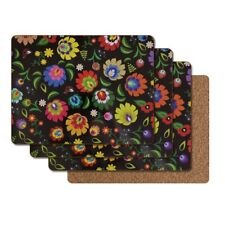 Cork Placemats Hardboard Bright Flowers Black Kitchen Place Mats 12x16 Set of 4