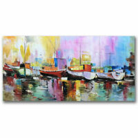 CHOP1490 100% handmade painted color abstract boat oil painting art on canvas