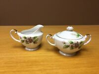 Roselyn China Japan Dogwood Footed Creamer & Sugar Bowl - Excellent
