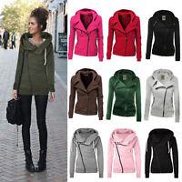 Women Zipper Top Hoodie Hooded Sweatshirt Coat Jacket Casual Slim Jumper Outwear