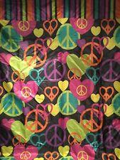 Peace & Love Fabric Shower Curtain w Hooks Set Hearts Hippie Sign Black Groovy