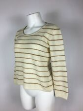 BRIONI ITALY 100% Cashmere striped Ivory Brown Crew Neck Classic Sweater 42