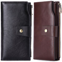 Mens Vintage Long Leather Wallet Zip Coin Pocket Phone Pouch Credit Card Holder