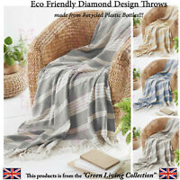 Eco Friendly Cotton Feel Abstract Diamond Bed Sofa Throw Blanket Fringe Tassels