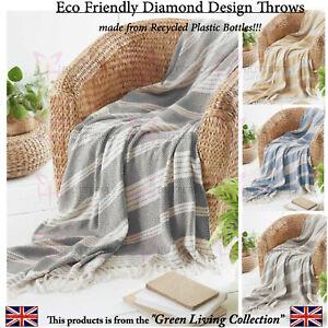 Eco Friendly Cotton Feel Abstract Diamond Bed Sofa Throw Blanket Fringe Tassels