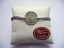 Bracelet Cordon gris avec pièce 1 Franc Semeuse en argent