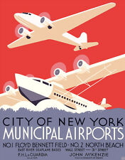 "Cool Retro Travel Poster *FRAMED* CANVAS ART New York Airports 16""x12"""