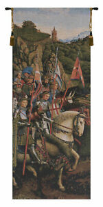 Knights Of Christ Horse and Knight Belgian Tapestry Wall Art Hanging 32x14 inch