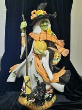 Fitz And Floyd Large Halloween Harvest Witch Figurine, Nib