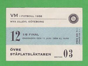 1958 FIFA World Cup ticket #12 1/8 Finals Brazil vs England June 11th Gothenburg