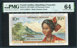 French Antilles 1964, 10 Francs, P8a, Signature 1, PMG 64 UNC