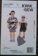 NEW KWIK SEW PATTERN UNOPENED BOYS' SHIRTS AND SHORTS  SIZE XS-XL #2604
