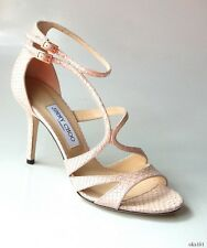 new $895 JIMMY CHOO 'Fenzy' nude pearl snake open-toe strappy heels shoes 39 9