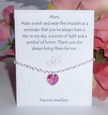 Día de las Madres Regalo Pulsera De Cristal Swarovski Element Corazón Rosa ~ deseo Mamá Madre